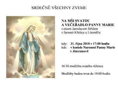 Pozvánka na mši svatou a večeřadlo Panny Marie